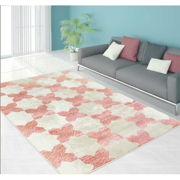 Clover Floral Contemporary Area Rug - 5' x 8' - Pink/Ivory
