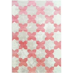 Tapis floral contemporain «Clover», 5' x 8', rose/ivoire