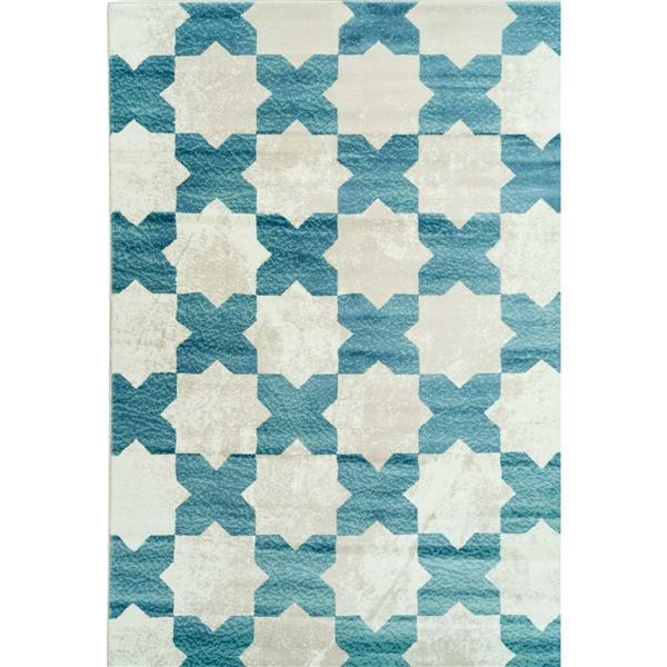 La Dole Rugs®  Clover Floral Contemporary Area Rug - 5' x 8' - Teal