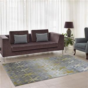 La Dole Rugs®  Alfalfa Geometric European Area Rug - 7' x 10' - Silver/Gold
