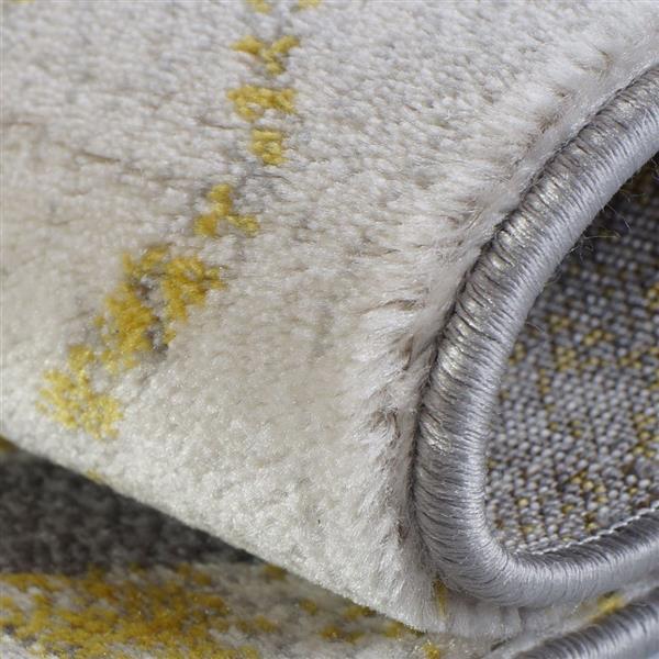 La Dole Rugs®  Alfalfa Geometric European Area Rug - 3' x 10' - Silver/Gold
