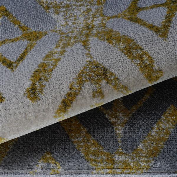 Tapis géométrique européenne «Alfalfa», 4' x 6', or/argent