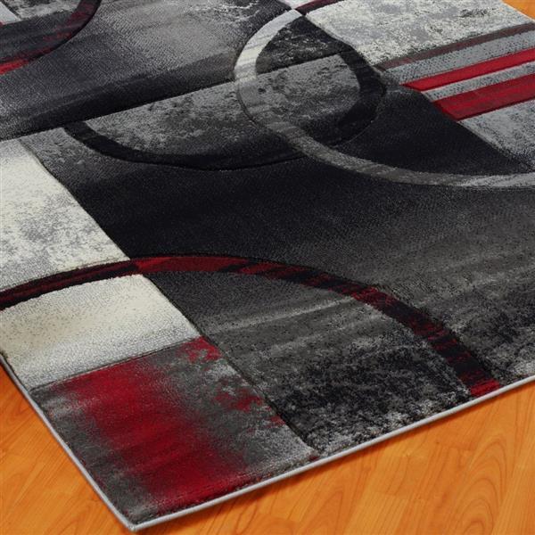 Tapis géométrique européenne «Adonis», 8' x 11', noir/gris