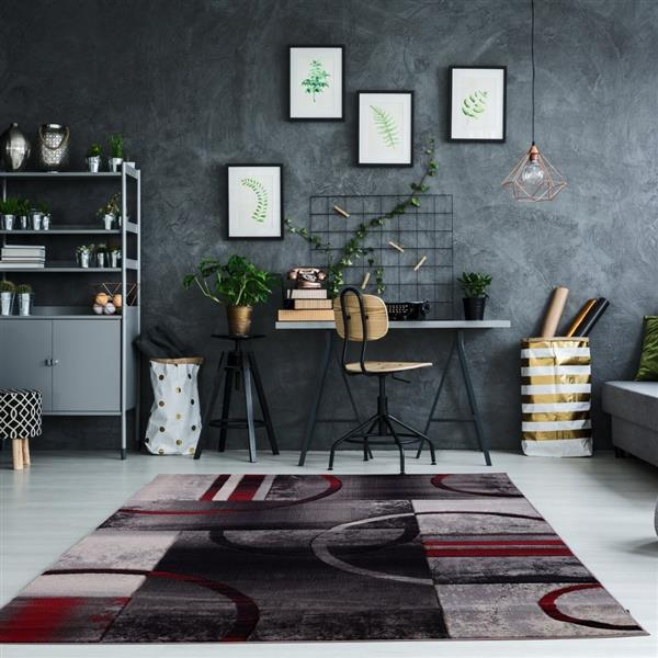 La Dole Rugs®  Adonis Geometric European Area Rug - 3' x 10' - Black/Grey