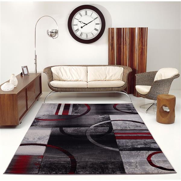 La Dole Rugs®  Adonis Geometric European Area Rug - 4' x 6' - Black/Grey