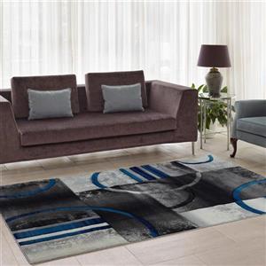 Tapis géométrique européenne «Adonis», 3' x 10', noir/gris