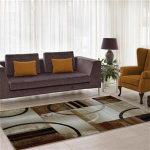 Tapis géométrique européenne «Adonis», 4' x 6', beige/brun