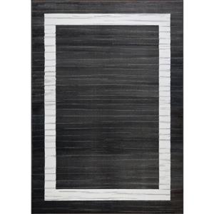 Tapis contemporain «Boarder», 7' x 10', noir/blanc