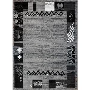 Tapis moderne «Boarder» de La Dole Rugs(MD), 4' x 6', gris