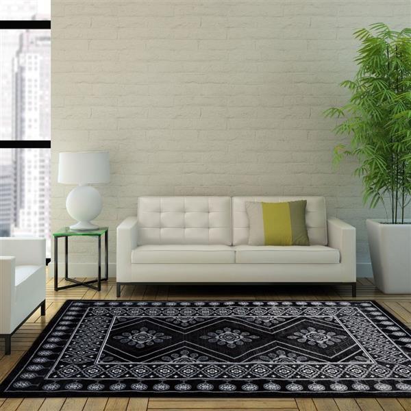 La Dole Rugs®  Contemporary Geometric Rectangular Rug - 4' x 6' - Black
