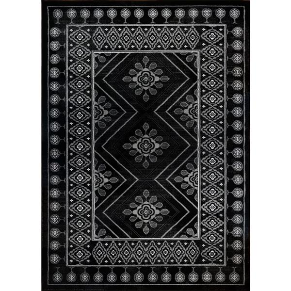 Tapis moderne rectangulaire «Boarder», 4' x 6', noir