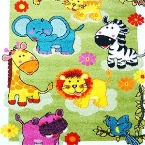 Tapis moderne animaux pour enfants «Moda», 7' x 10', vert