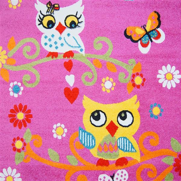 La Dole Rugs® Kids Moda Modern Owl Rug  - 7' x 10' - Pink