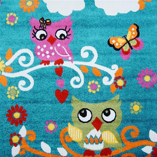 La Dole Rugs® Kids Moda Modern Owl Area Rug - 5' x 8' - Blue