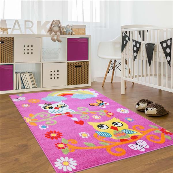 La Dole Rugs® Kids Moda Modern Owl Area Rug - 4' x 6' - Pink
