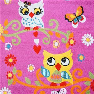 Tapis pour enfants à motif hibou «Moda», 5' x 8', rose