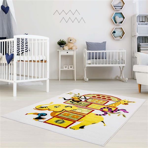 La Dole Rugs®  Kids Moda Elephant Area Rug - 5' x 8' - White