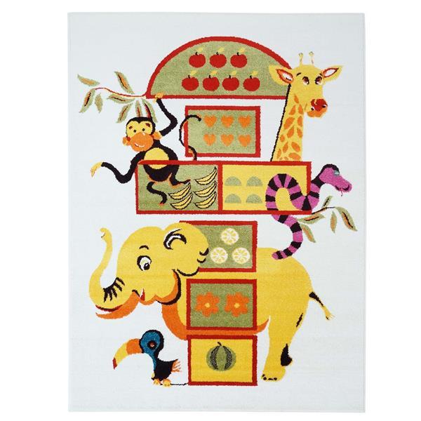 La Dole Rugs® Kids Modern Moda Elephant Area Rug - 4' x 6' - White