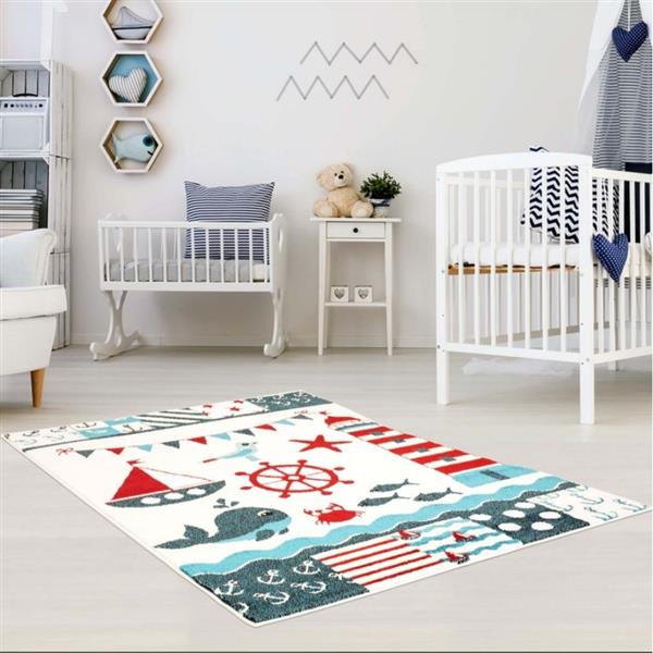 La Dole Rugs® Kids Modern Moda Nautical Area Rug - 4' x 6' - White