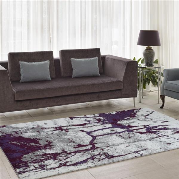 Tapis «Anise» de La Dole Rugs(MD), 5' x 8', violet/crème