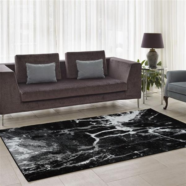 La Dole Rugs® Anise Art Area Rug - 8' x 11' - Black/White