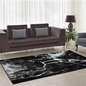 Tapis «Anise» de La Dole Rugs(MD), 4' x 6', noir/blanc