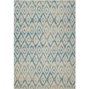 Tapis géométrique moderne «Bolivya», 7' x 10', bleu
