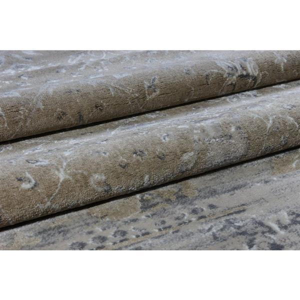 La Dole Rugs®  Abstract Garnet Contemporary Rug - 5' x 8' - Caramel/Grey