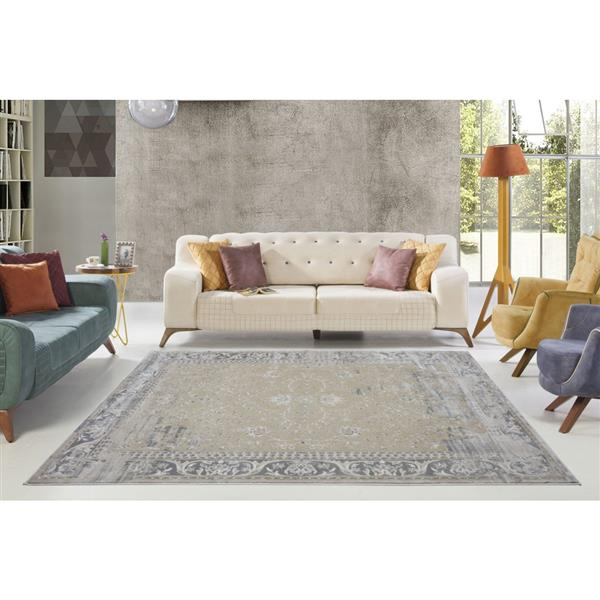La Dole Rugs®  Abstract Garnet Contemporary Rug - 3' x 10' - Caramel/Grey