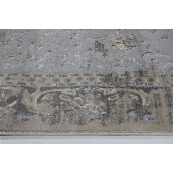 Tapis contemporain abstrait «Garnet», 8' x 11', crème/gris