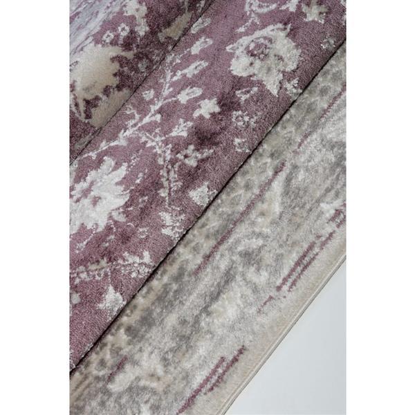 Tapis contemporain abstrait «Garnet», 3' x 10', rose/crème