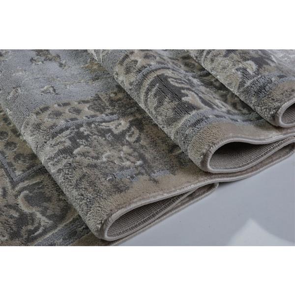 La Dole Rugs®  Abstract Garnet Contemporary Carpet - 5' x 8' - Cream/Grey