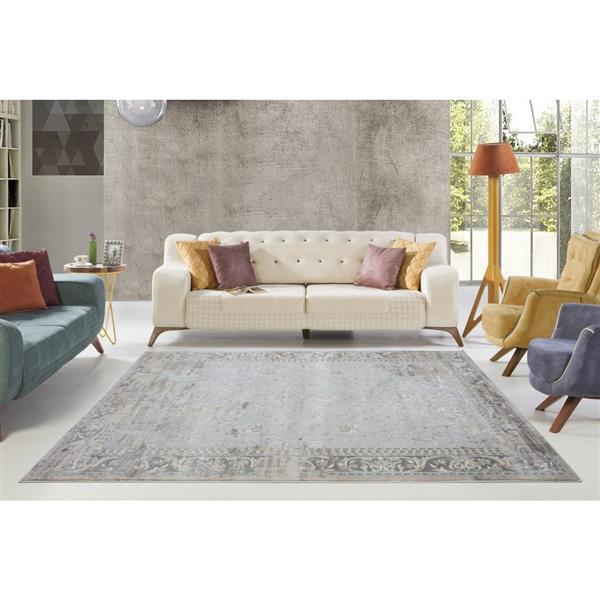 La Dole Rugs®  Abstract Garnet Contemporary Runner - 3' x 10' - Cream/Grey