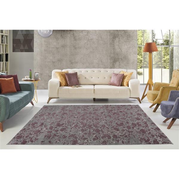 La Dole Rugs® Concord Abstract Carpet - 7' x 10' - Plum