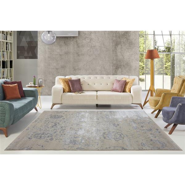 La Dole Rugs® Cherine Modern Carpet - 3' x 10' - Cream/Grey