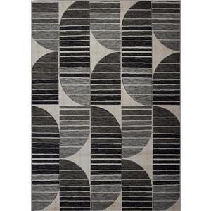 Tapis moderne de La Dole Rugs(MD), 3' x 10', gris foncé/noir