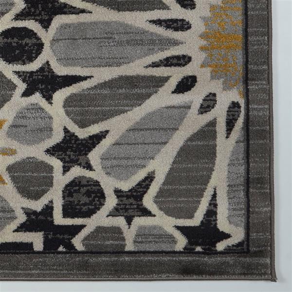 Tapis moderne de La Dole Rugs(MD), 7' x 10', gris foncé/or