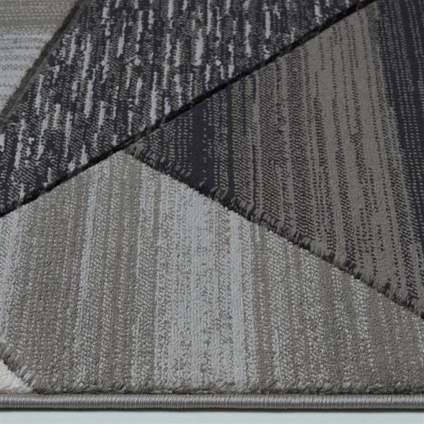 """Tapis moderne de La Dole Rugs(MD), 2' x 3'3 """", noir/gris"""