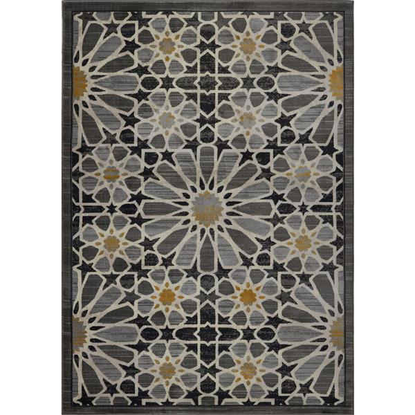 La Dole Rugs® Modern Area Rug - 3' x 10' - Dark Grey/Gold