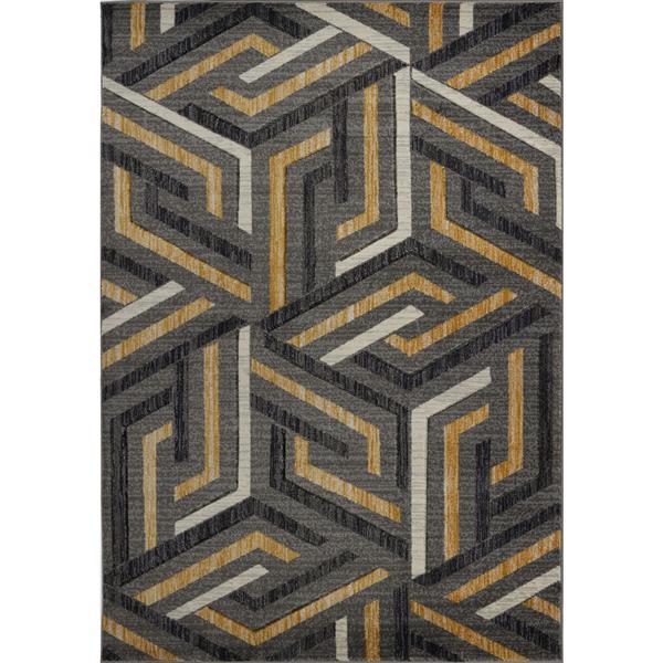 La Dole Rugs® Modern Area Rug - 7' x 10' - Dark Grey/Gold