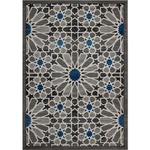 Tapis moderne de La Dole Rugs(MD), 3' x 5', gris foncé/bleu