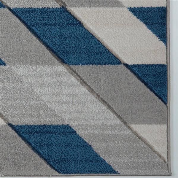 Tapis moderne de La Dole Rugs(MD), 3' x 10', gris/bleu