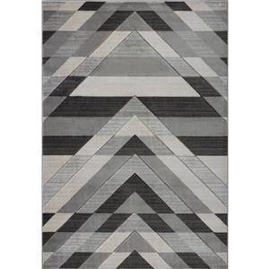 Tapis moderne de La Dole Rugs(MD), 5' x 7', gris/noir