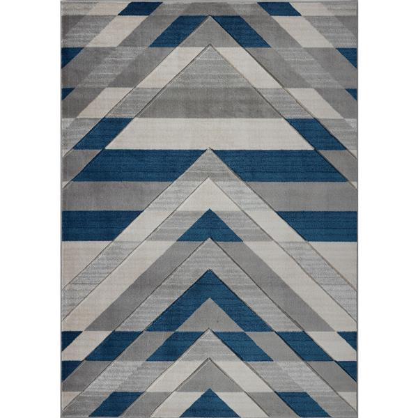 """La Dole Rugs® Modern Doormat - 1'10""""x2'11"""" - Grey/Blue"""