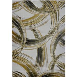 Tapis moderne de La Dole Rugs(MD), 3' x 5', crème/or