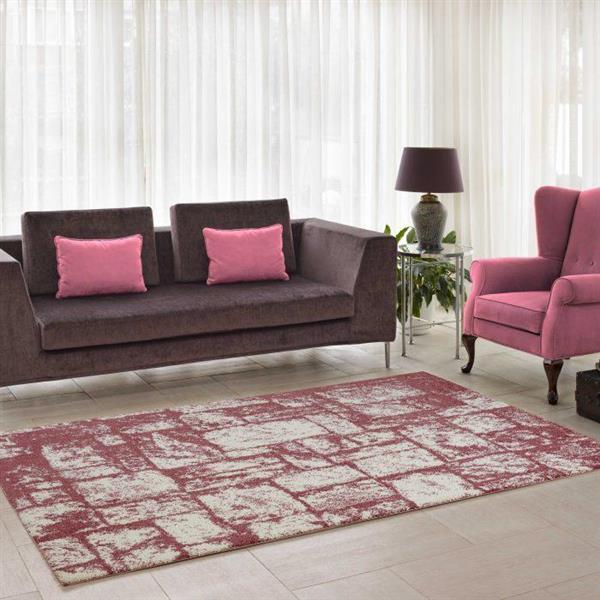 La Dole Rugs®  Contemporary Abstract Area Rug - 3' x 10' - Rose/Cream