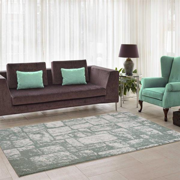 La Dole Rugs®  Contemporary Abstract Area Rug - 3' x 10' - Green/Cream
