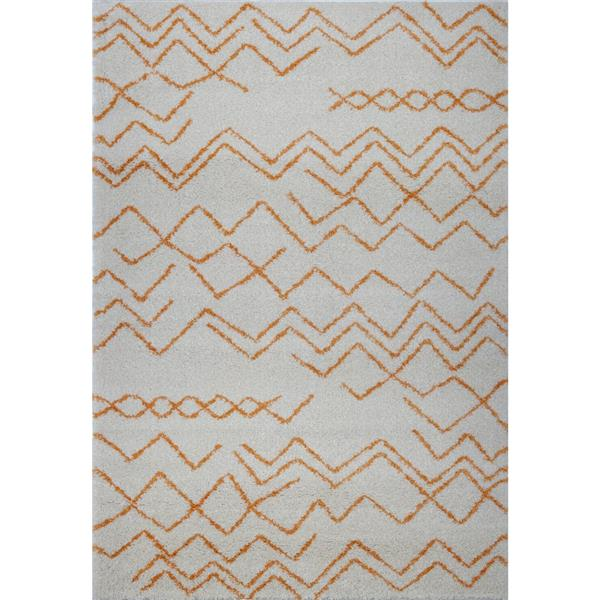 Tapis contemporain rectangulaire treillis, 7' x 10', orange