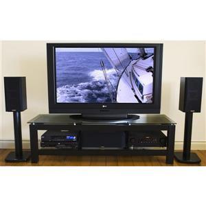 Meuble audio-vidéo Plateau SL-2V, noir/verre noir, 50