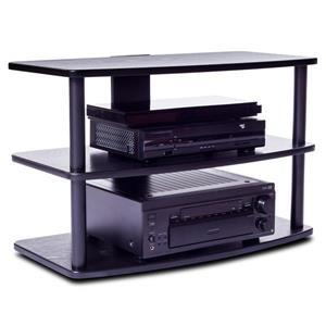 """Meuble audio-vidéo Plateau, métal noir / tablettes noir, 32"""""""